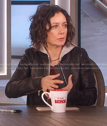 Sara's black hooded leather jacket and striped shirt on The Talk