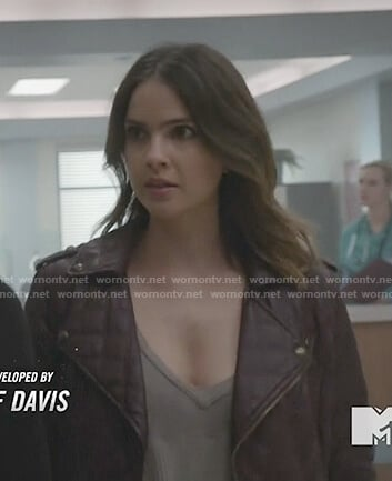 Malia's red quilted leather moto jacket on Teen Wolf