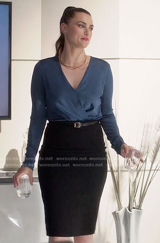 Lena's blue wrap blouse on Supergirl