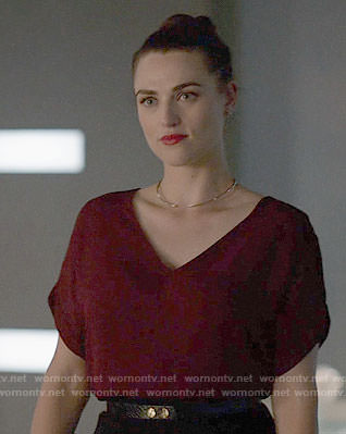 Lena's red v-neck top on Supergirl