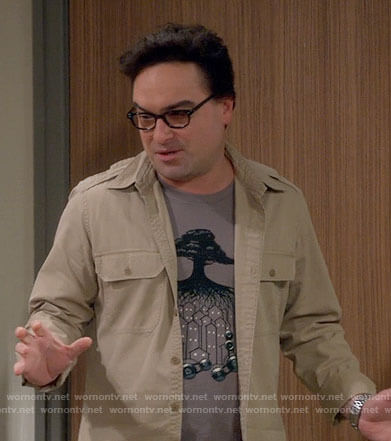 Leonard's tree with cogs t-shirt on The Big Bang Theory