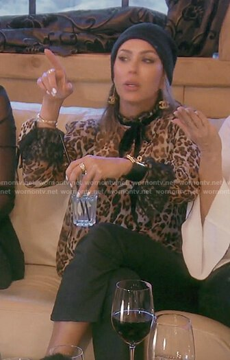 Kelly's leopard print ribbon neck top on The Real Housewives of OC