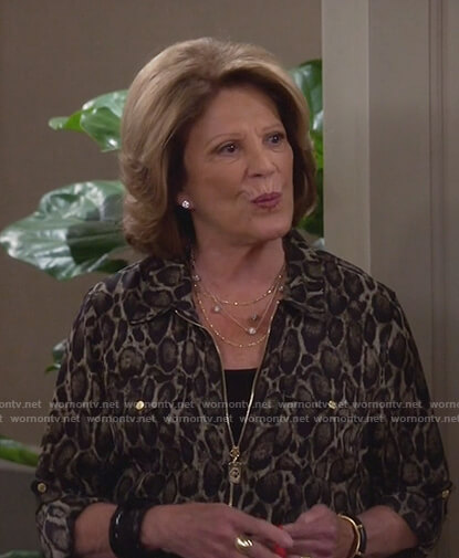 Judy's leopard print zip front blouse on 9JKL