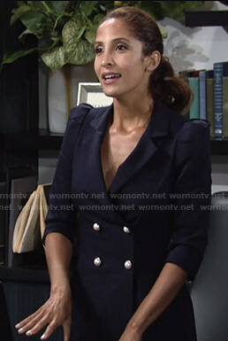 Lily's navy double-breasted dress with pearl buttons on The Young and the Restless