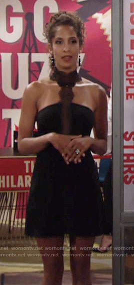 Lily's black lace choker dress on The Young and the Restless