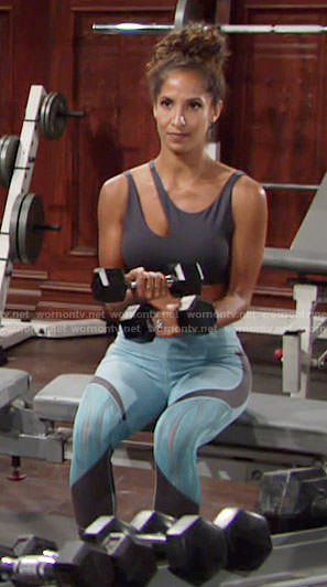 Lily's aqua blue leggings and asymmetric sports bra on The Young and the Restless
