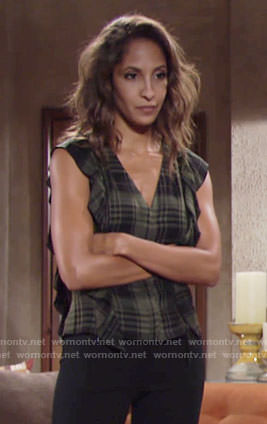 Lily's green plaid top with ruffles on The Young and the Restless