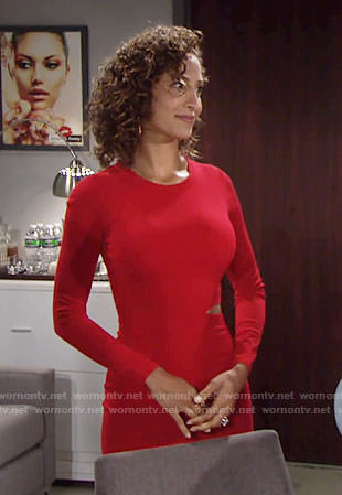 Lily's red long sleeved dress with waist cutout on The Young and the Restless
