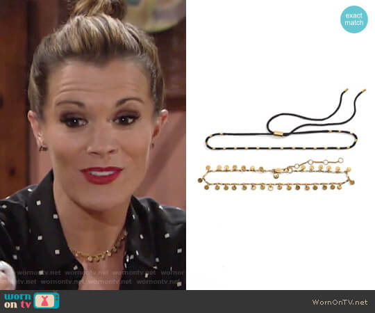 Madewell Two-Pack Choker Necklaces worn by Melissa Claire Egan on The Young & the Restless