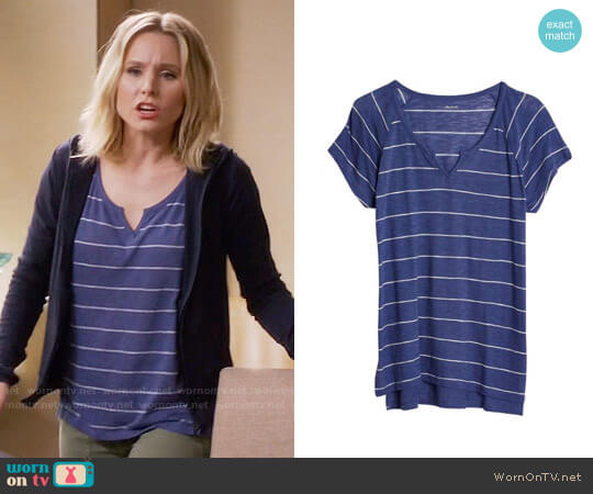 Madewell Choral Split Neck Tee worn by Kristen Bell on The Good Place