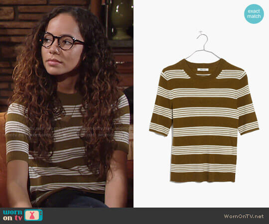 Madewell Ribbed Sweater Top in Bennett Stripe worn by Lexie Stevenson on The Young & the Restless
