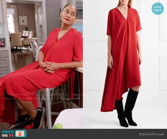 Maison Margiela Red Asymmetric Crepe Dress worn by Rainbow Johnson (Tracee Ellis Ross) on Blackish