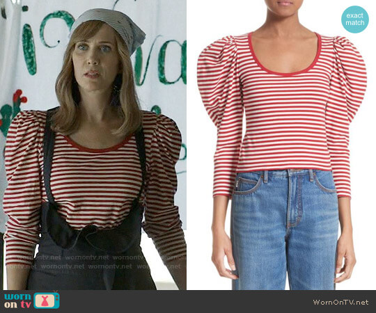 Marc Jacobs Stripe Cotton Puff Sleeve Top worn by Kristen Wiig on Last Man On Earth