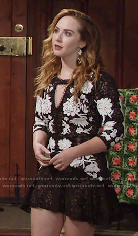 Mariah's black and white lace mini dress on The Young and the Restless