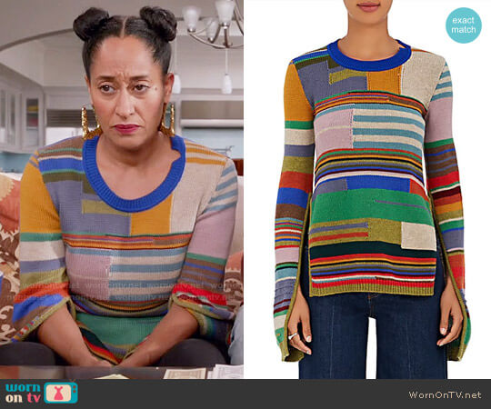 Marni Striped Wool-Blend Sweater worn by Tracee Ellis Ross on Blackish
