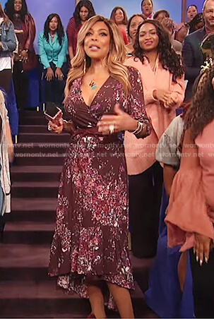 Wendy's maroon floral print v-neck dress on The Wendy Williams Show