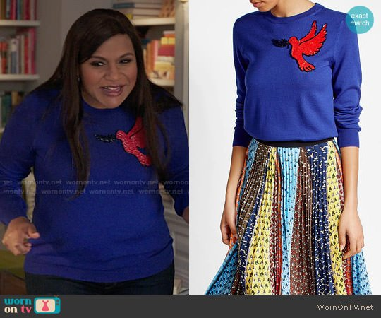 Mary Katrantzou Embellished Virgin Wool Pullover worn by Mindy Lahiri (Mindy Kaling) on The Mindy Project