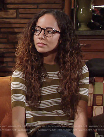 Mattie's olive striped top on The Young and the Restless