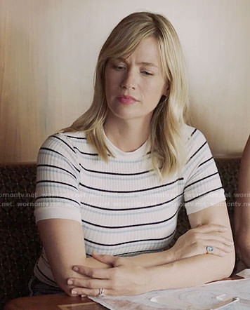 Melissa's white striped top on Last Man on Earth
