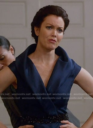 Mellie's blue shawl collar gown on Scandal