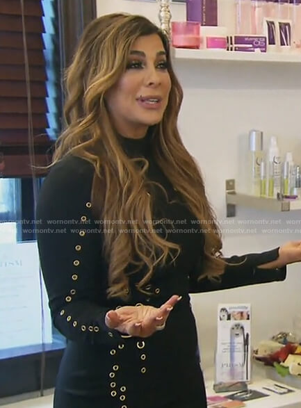 Siggy's black long sleeved grommet dress on The Real Housewives of New Jersey