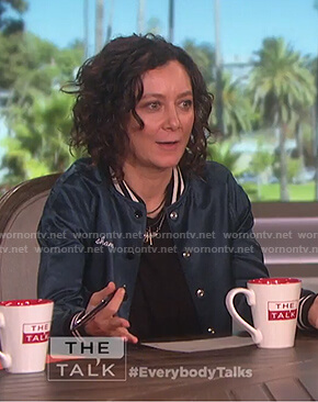 Sara's metallic blue shameless bomber jacket on The Talk