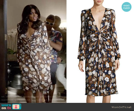 Michael Kors Collection Floral Knotted Deep-V Dress worn by Taraji P. Henson on Empire