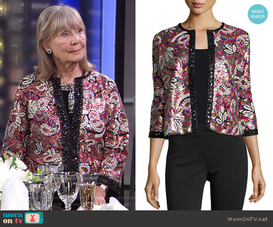 Michael Simon Paisley Sequined Cardigan worn by Dina Mergeron (Marla Adams) on The Young & the Restless