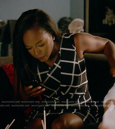 Michaela's black and white checked dress on How to Get Away with Murder