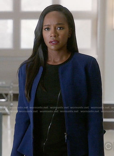 Michaela's black zip front dress and blue peplum jacket on How to Get Away with Murder
