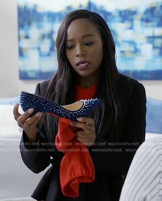 Michaela's blue studded heels on How to Get Away with Murder