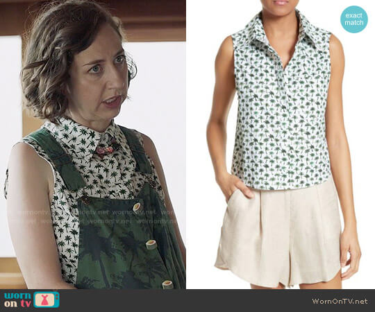 Milly Bambino Palm Print Tie Back Top worn by Kristen Schaal on Last Man On Earth