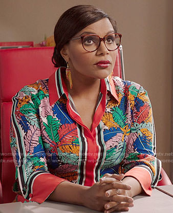 Mindy's multi colored leaf print shirtdress on The Mindy Project