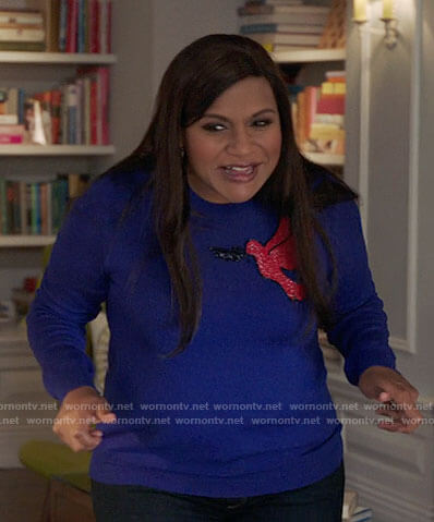 Mindy's blue sweater with red bird on The Mindy Project