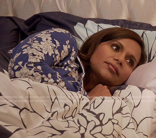 Mindy's blue and white floral pajamas on The Mindy Project