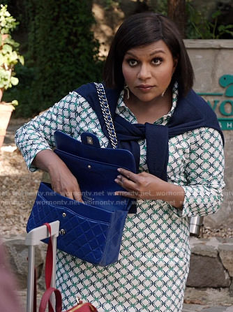 Mindy's green geometric patterned shirt and skirt on The Mindy Project