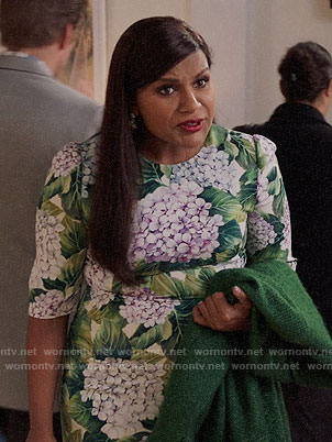 Mindy's green and purple floral dress on The Mindy Project
