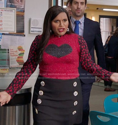 Mindy's heart print shirt and sweater vest on The Mindy Project