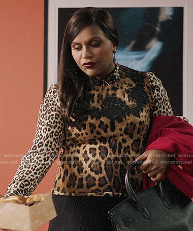 Mindy's leopard print shirt and shell on The Mindy Project