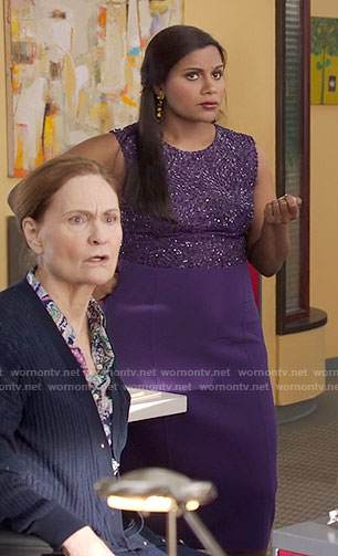 Mindy's purple sequin dress on The Mindy Project