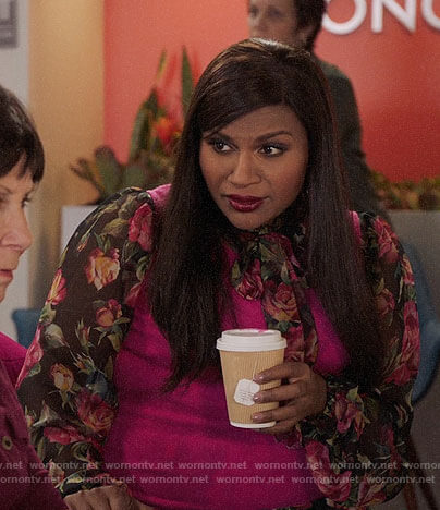 Mindy's rose print tie-neck blouse on The Mindy Project