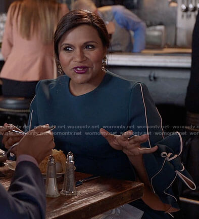 Mindy's teal green bow sleeve dress on The Mindy Project