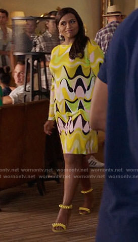 Mindy's yellow abstract print dress on The Mindy Project