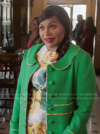 Mindy's yellow rose print dress and green coat on The Mindy Project