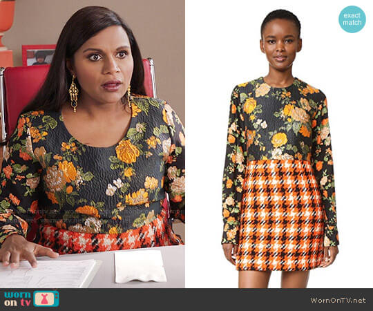 MSGM Silk & Plaid Dress worn by Mindy Lahiri (Mindy Kaling) on The Mindy Project
