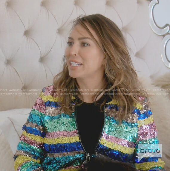 Kelly's multi colored striped sequin jacket on The Real Housewives of OC