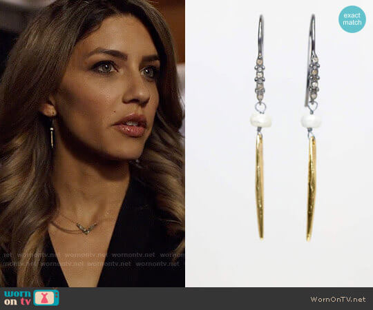 NadeanDesigns Diamond spike earrings worn by Juliana Harkavy on Arrow