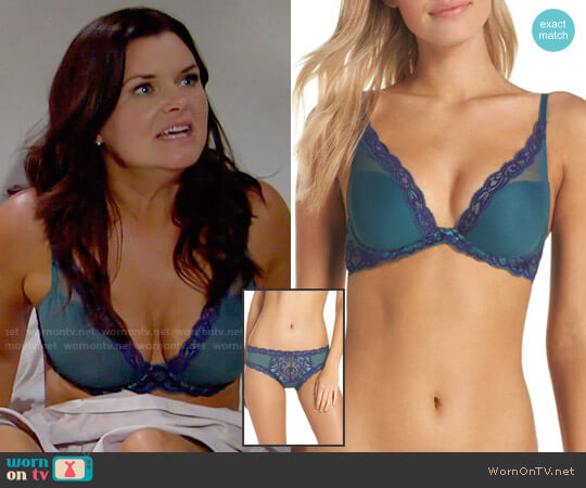 Natori Feathers Bra and Briefs in Blue Green / Ink worn by Heather Tom on The Bold & the Beautiful