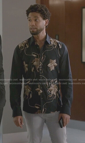 Jamal's blue embroidered flower long sleeve shirt on Empire