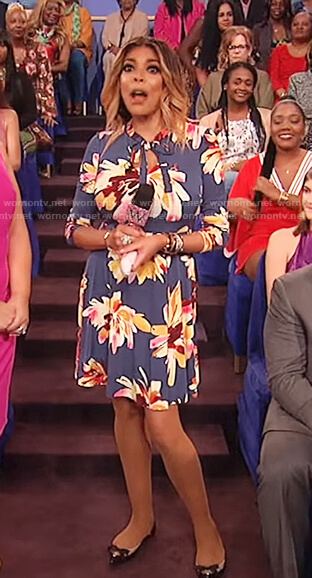 Wendy's navy floral print bow tie dress on The Wendy Williams Show